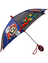 Boys' Little Mario and Luigi Character Rainwear Umbrellas, Grey/Blue, Age 3-6