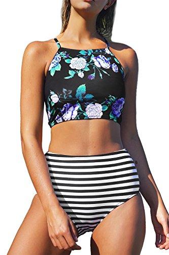 Chicgal Womens Padded Two Piece Vintage Halter Swimsuit Tankini Beach Bikini (Purple Flower (Flower Halter Bikini)
