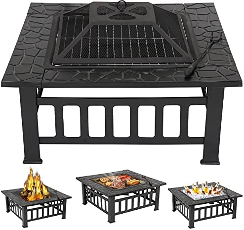 ZENY 32″ Outdoor Fire Pit Square Table Metal Firepit Table Backyard Patio Garden Stove Wood Burning Fireplace w/ Waterproof Cover