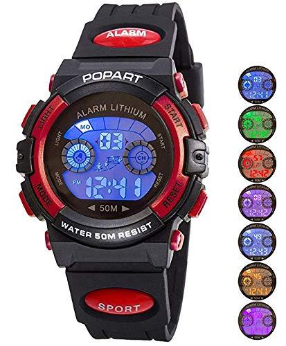 82d50f13d Reloj LED Deportivo para niños 30 m Impermeable multifunción Reloj de  Pulsera Digital para niño niña Regalo Negro Rojo: Amazon.es: Relojes