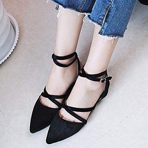 Chaussures Escarpins MissSaSa Plats Cheville Noir Femmes Bride PTpCqZw
