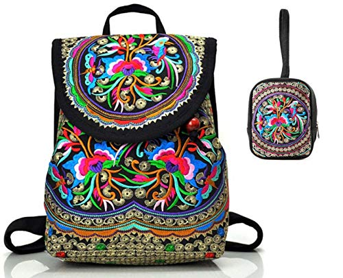 Embroidered Coin Purse - Goodhan Vintage Women Embroidery Ethnic Backpack Travel Handbag Shoulder Bag Mochila (S13: 2 pack (S01+ 1 Coin Pouch))