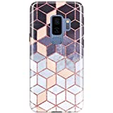 Galaxy S9 Plus (S9+) Case, JAHOLAN Shiny Rose Gold Gradient Cubes Design Slim Flexible Bumper TPU Soft Case Rubber Silicone Skin Cover for Samsung Galaxy S9 Plus (S9+)
