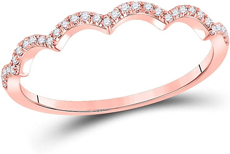14kt White Gold Womens Round Diamond Heart Stackable Band Ring 1//10 Cttw