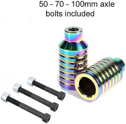 Par de pegs para acrobacias con monopatín + 3 Cubiertas para pernos de ejes, para ruedas con núcleo de metal de 100 mm y 110 mm, neocromo