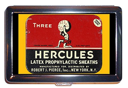 Retro Condom Graphic Hercules Stainless Steel ID or Cigarettes Case (King Size or 100mm) -