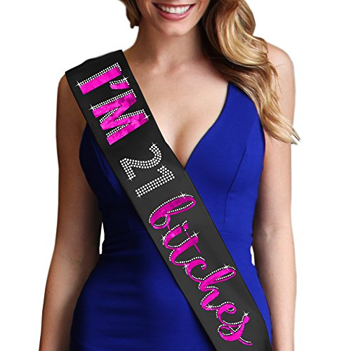 I'm 21 Bitches Metallic Hot Pink Satin Sash - 21st Birthday Party Supplies & Decorations Black Sash(Im21Btch HP)BLK