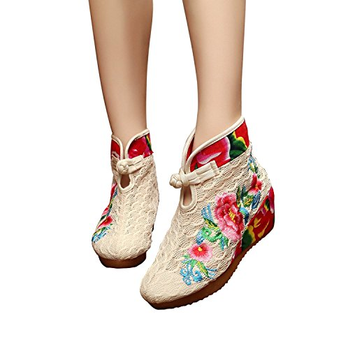 Sanksk Women's Peony Embroidery Sports Breathability Boots Canvas Shoes Beige40 M EU (Peony Discount Code)