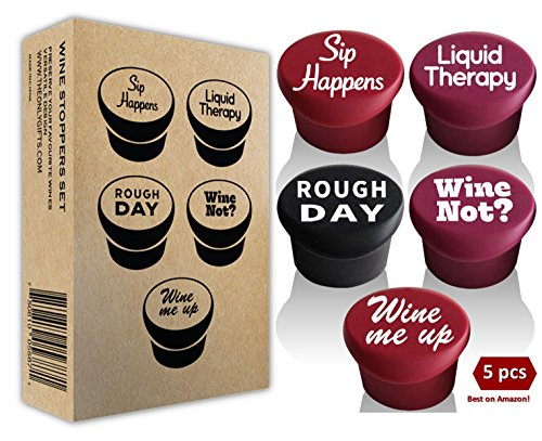 5 Wine Stoppers + Gift Box - Perfect Wine Gift Accessory, Set of 5 Funny Silicone Wine Reusable Caps Stoppers for Wine and Beer Bottles – Vinaka Wine Stoppers by The Only Gift Worth Giving (Image #7)