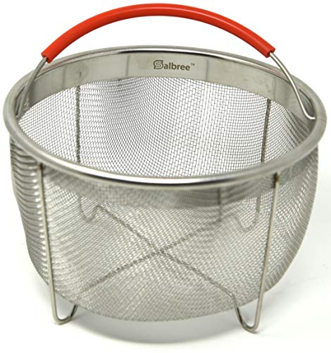 The Original Salbree 6qt Steamer Basket for Instant Pot Accessories, Stainless Steel Strainer and Insert fits IP Insta Pot, Instapot 6qt & 8qt, Other Pressure Cookers and Pots, Premium Silicone Handle