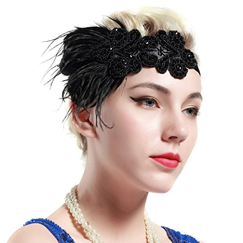BABEYOND 1920s Flapper Headband 20s Great Gatsby Headpiece Bridal Feather Headband 1920s Flapper Gatsby Hair Accessories (Black Band)