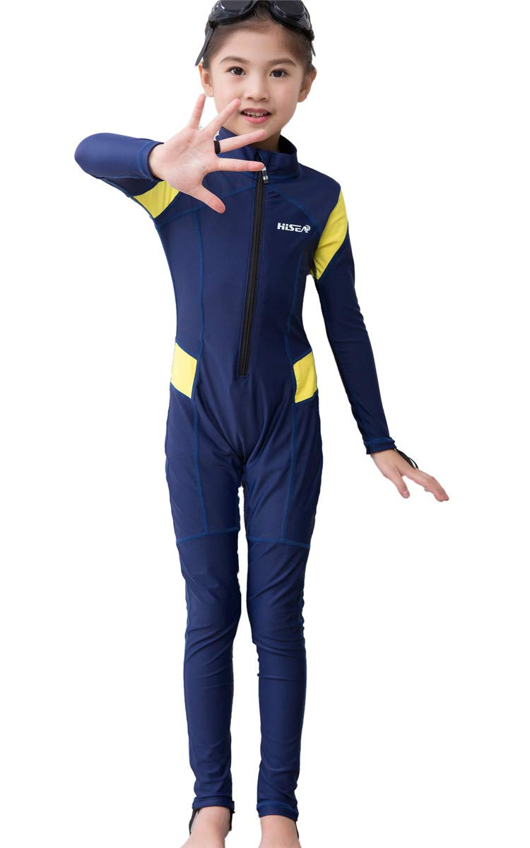 JELEUON Little Kids Girls One Piece Water Sports Sun Protection Rash Guard UPF 50+ Long Sleeves Full Suit Swimsuit Wetsuit Navy/Yellow