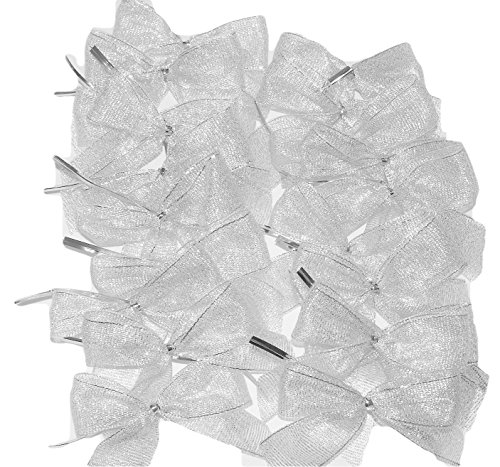 Silver Metallic Mesh Twist Tie On Gift Favor Bows, 20 Ct. Sparkly, Thank You Favors, Treat Bags, Party Decor, Ornaments, Christmas, Weddings, Showers, Promotional Gifts, Party Prizes for $<!--$12.00-->