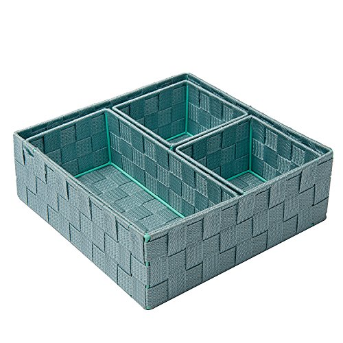 Posprica Drawer Organizer Bins,Woven Strap Storage Box Cube Basket Containers Divider for Organizing drawers, shelves, closets, cabinets, dressers and countertops,set of 4,Blue
