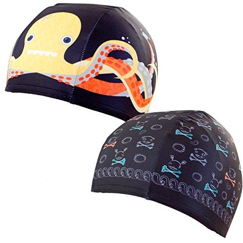 Pool Beanies, Lycra Designer Swim Caps, 2 pack, Jolly Roger, Otto the Octopus - Clayton Cap