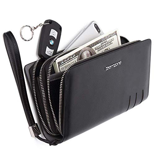 Wallet Organizer Pocket Protector Zip Checkbook Clutch Leather With Genuine Handbag Mens teemzone Black Card Bag Case Rfid xqZYwZ8p