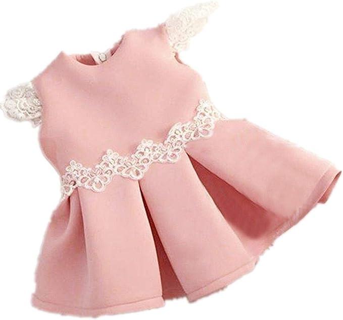 Amazon.com: Vestido de princesa de manga corta con lazo ...