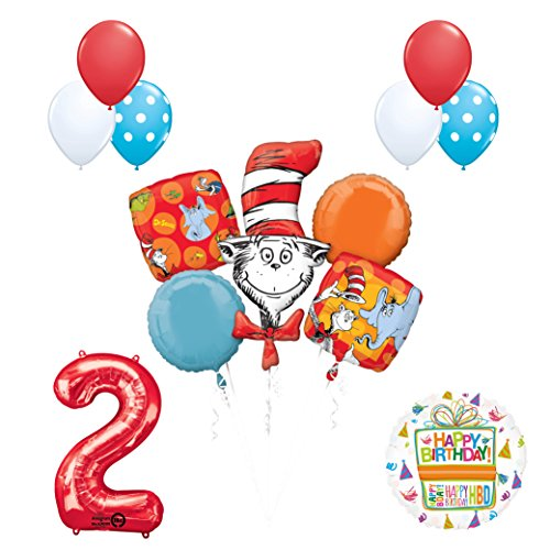 13 pc Dr Seuss Cat in the Hat 2nd Birthday Party Balloon Supplies and Decorations]()