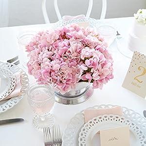 Butterfly Craze Artificial Hydrangea Silk Flowers for Wedding Bouquet, Flower Arrangements - Pink Color, 5 Stems per Bundle 4
