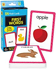 Carson Dellosa First Words Flash Cards—Double-Sided, Common Words With Illustrations, Basic Animals, Food, Obj