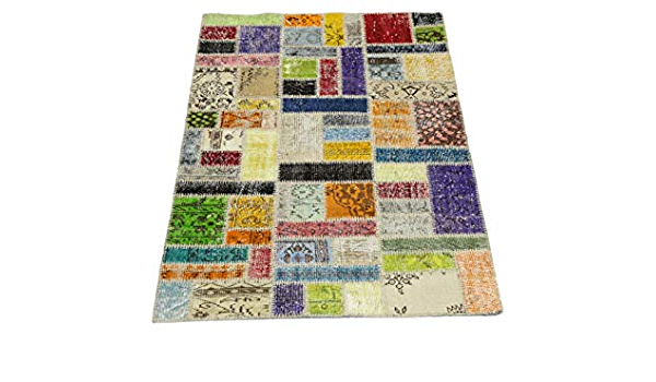 Pozlu Handwoven Premium Patchwork Rug 3 9 X 6 1 Handmade Patch Design Natural Wool Area Rug Checkered Colorful Handmade Amazon Com