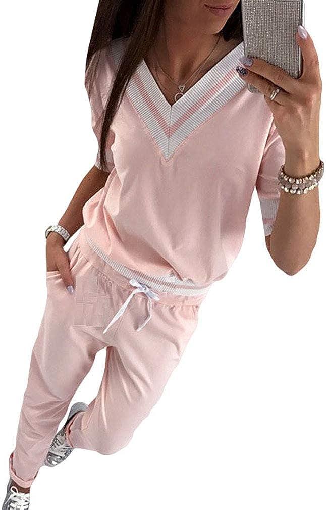 Maisheng Conjunto de chándal para Mujer - Sudadera con Manga Larga a Rayas + Pantalones Joggers Sports Suits 2PCS Chándal Completo - MA19100908