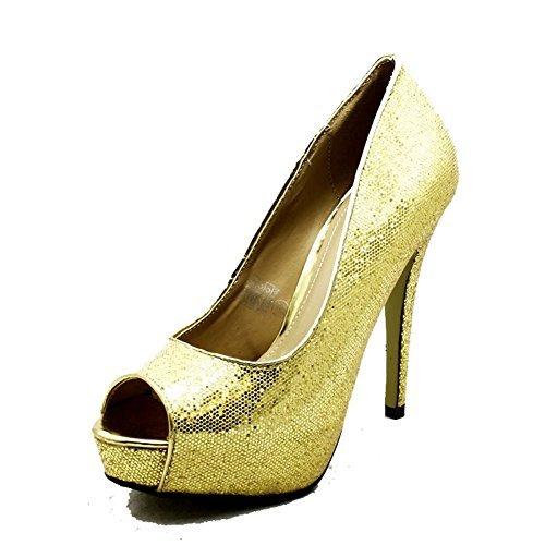 forme De Mesdames Peep Or Chaussures Haut Soirée Talon Plate Brillant IqItp1