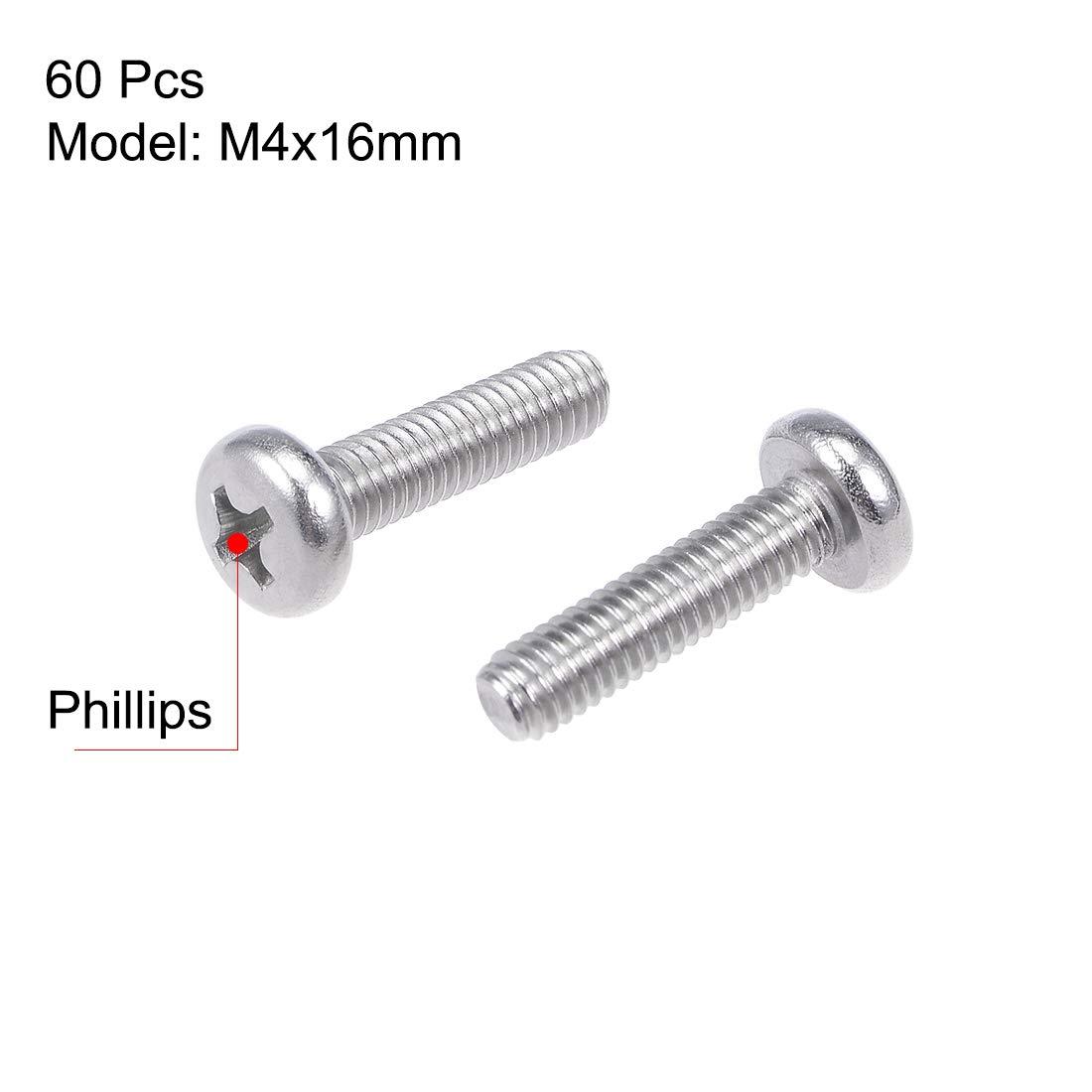uxcell M4x16mm Machine Screws Pan Phillips Cross Head Screw 304 Stainless Steel Fasteners Bolts 30Pcs