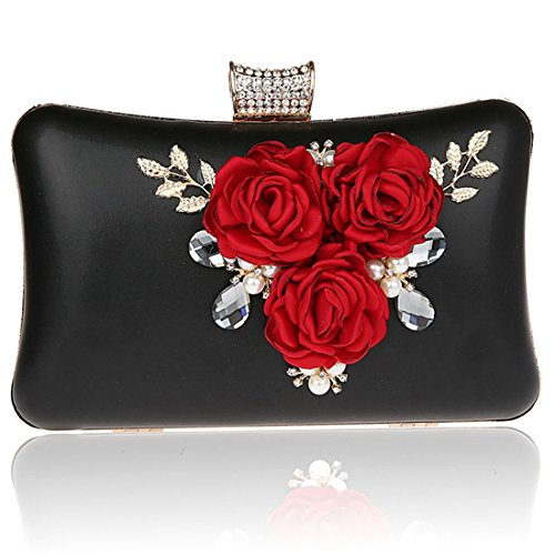 Pearl Rhinestone Crystal Purse Wedding For Evening Case Black Hard Engagement Prom Party Bag Clutch Cocktail Bags wxBtH