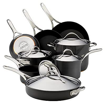 Anolon Nouvelle Copper Hard-Anodized Nonstick Cookware Set, Dark Grey (14-Piece )