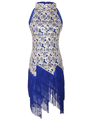[JustinCostume 1920s Sequined Retro Pattern Flapper Dress Halloween Costume (Small, Blue)] (Cocktail Dress Halloween Costumes)