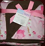 Pink & Brown Zoo Animals Elephant Giraffe Monkey So Soft Blanket by Just Born