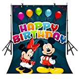 5x7Ft Cartoon Style Backdrop, Mickey Mouse Backdrop for Pictures, Balloons and Ribbons Backdrop Backdrop for Birthday Party TMVV007
