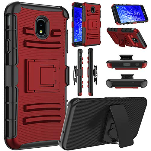 Galaxy J7 2018 Case, J7 Crown, J7 Refine, J7 Star, J7 Aero Case, Elegant Choise Hybrid Heavy Duty Shockproof Rugged Holster Protective Case with Kickstand and Belt Clip for Samsung J7 2018 (Red)