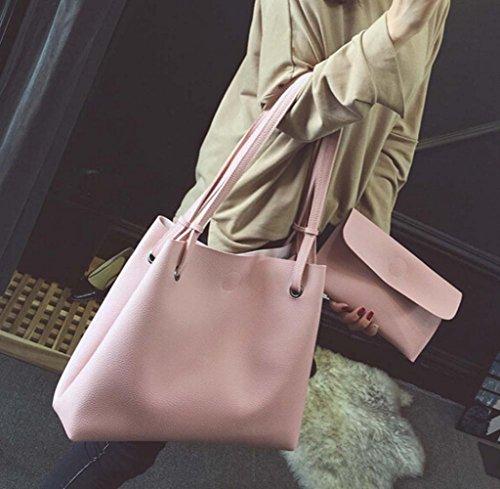 Tongshi Moda mujer cuero Litchi Stria bolso solo bolso de hombro + bolso de embrague Rosa