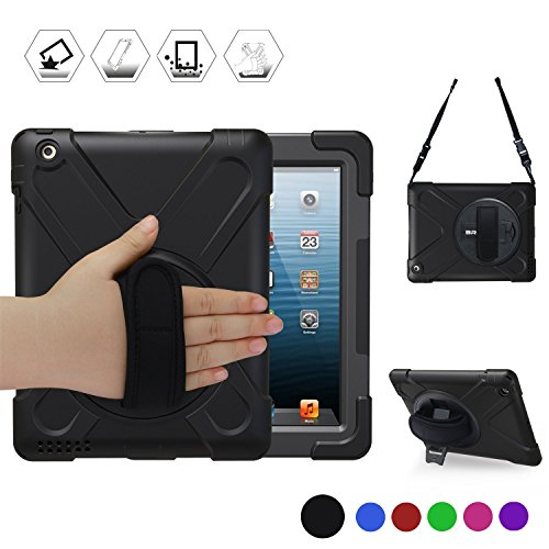 iPad 2 Case for Kids, iPad 2 3 4 Case, BRAECN[360 Degree Rotation Handle Grip]Three Layer Heavy Duty Shockproof Protective Case For iPad A1395 A1396 A1397 A1403 A1416 A1430 A1458 A1459 A1460 Black by BRAECN
