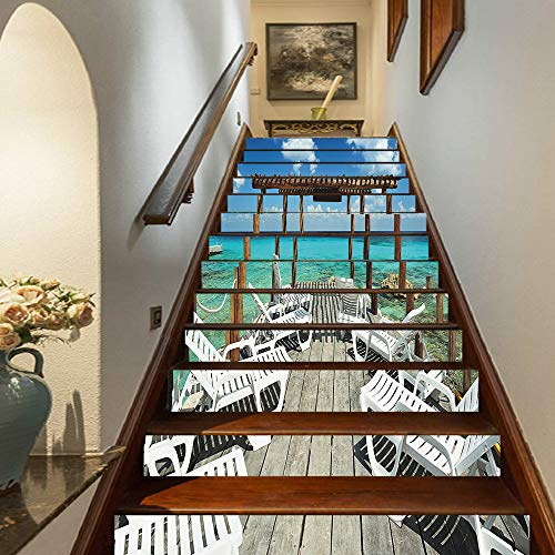 Marteylink Travel Decor Staircase Stickers,Beach Sunbeds Ocean Sea Scenery with Wooden Seem Pier Image Self-Adhesive Wall Stair Stickers Mural Wallpaper for Home Decor,39.3