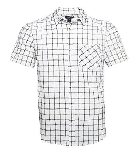 GILBETI Men's Casual Short Sleeve Linen Cotton Windowpane Plaid Shirt White L Double Windowpane Check