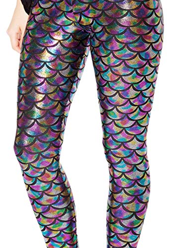 Alaroo Women Bling Mermaid Print Scale Leggings Pants Rainbow Plus 4XL -