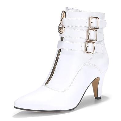 49c8977d427 IDIFU Women s Amanda-C Pointed Toe Buckle Strap Ankle Booties Medium Chunky  Heel Short Boots
