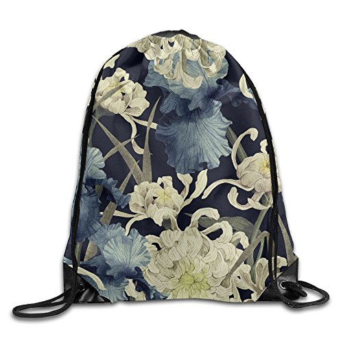 (Yishuo Seamless Floral Pattern With Chrysanthemum And Iris Watercolor Drawstring Pack Beam Mouth Gym Sack Shoulder Bags For Men & Women)