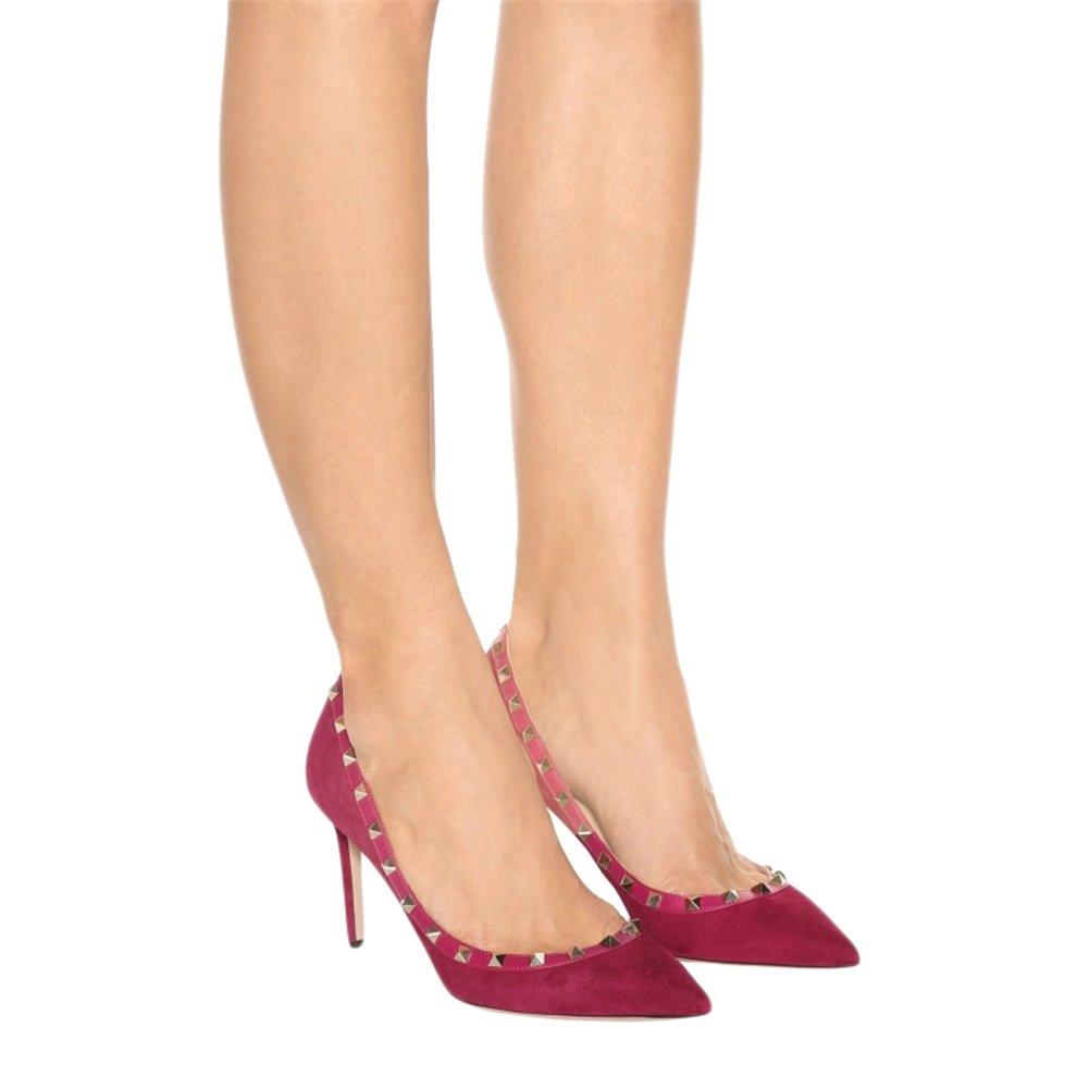 EKS Damen Fllosacf Patch Arbeitskante Arbeitskante Arbeitskante mit Nieten Stollen High Heels Pointed Toe Pumps Kleid Schuhe Plus Größe EU 35-46 Wildleder-rot 2f4552