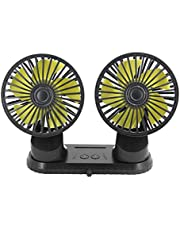 Car Dual Head Fan, 12V Car Cooling Fan, Portable Electric Fan Vehicle Mounted USB Fan, 3 Speed Levels, Cooling Air Circulator Low Noise For Summer, For Dashboard SUV RV Truck Home Office