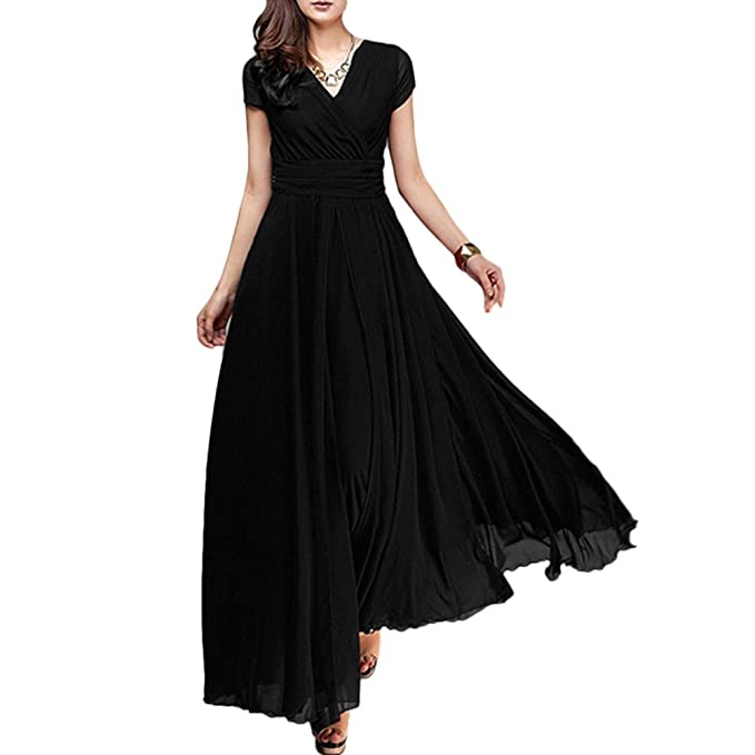 e18101d5ae FYMNSI Women s Boho Solid Chiffon V-Neck Cocktail Bridesmaid Party Maxi  Swing Dress Black S