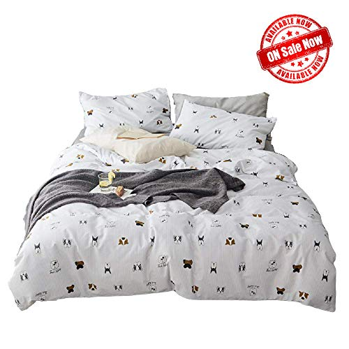 Dog-Friendly Duvet Cover Sets,Light Gray Ticking Stripe Duvet Cover Queen Cotton,Puppy Dogs Bedding Sets,Reversible 3 Pieces Duvet Cover with Zipper Closure,4 Corner Ties(NO Comforter)