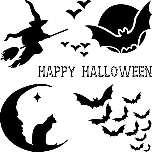 "HALLOWEEN CARD STENCIL (size 5""w x 5""h) Reusable Stencils for Painting - Best Quality Scrapbooking Halloween Idea - Use on Walls, Floors, Fabrics, Glass, Wood, Cards, and (Idee Originali X Halloween)"