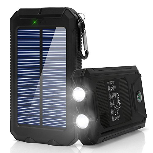 Ayyie Solar Charger,10000mAh Solar Power Bank Portable External Backup Battery Pack Dual USB Solar Phone Charger with 2LED Light Carabiner and Compass for Your Smartphones and - Keychain Power Solar