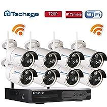 Techage 8CH Home Surveillance System Wireless NVR Kit 960P Video Recorder + 1.0MP Wifi IP Camera 3PCS Leds CCTV System Kit Without Hard Drive