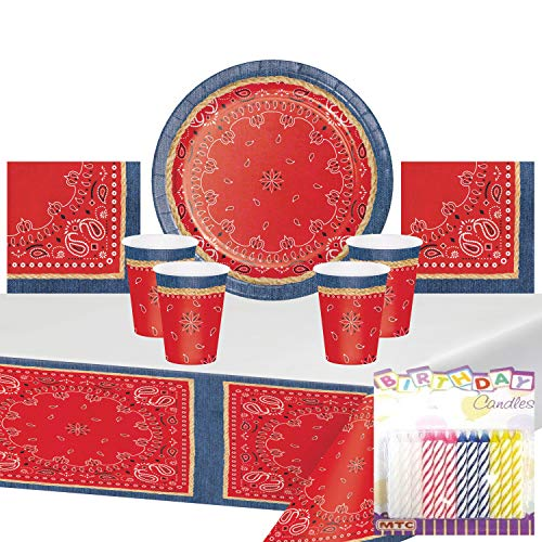 Western Birthday Party Ideas (Western Bandana Denim Party Supplies Pack Serves 16: Party Plates Napkins Cups and Table Cover with Birthday Candles (Bundle for)