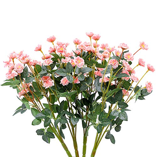 Nubry 4pcs Artificial Wildflowers Lifelike Fake Mini Rose Flower for Home Wedding Garden Party Décor(Pink)